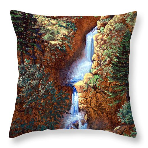 Wilderness Throw Pillow featuring the painting Spring Cascade by Frank Wilson
