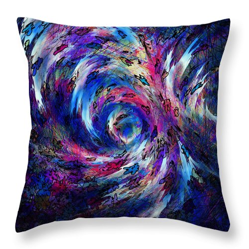 Abstract Throw Pillow featuring the digital art Spring Caught In The Maelstrom by Rachel Christine Nowicki