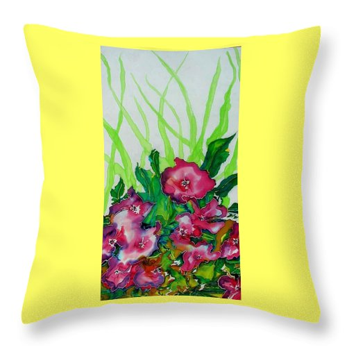 Flora Throw Pillow featuring the painting Spring Celebration 1 by Ferril Nawir
