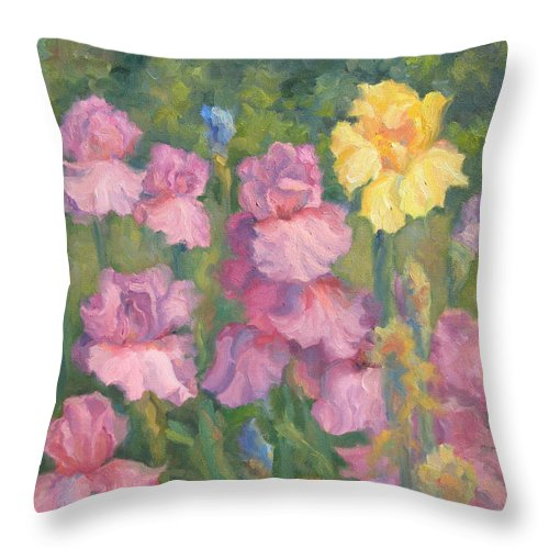 Iris Throw Pillow featuring the painting Spring Celebration by Bunny Oliver