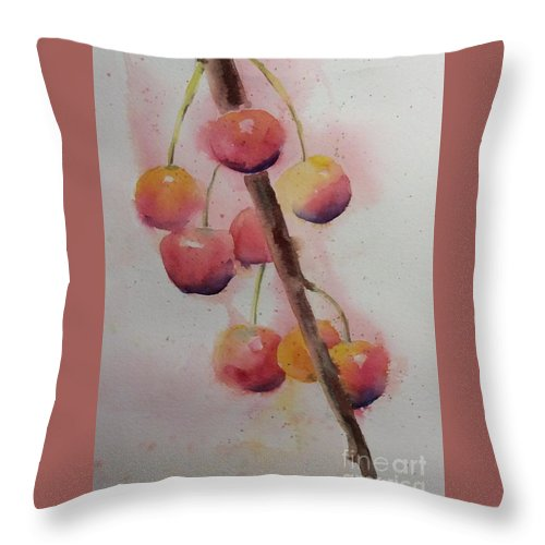 Spring Throw Pillow featuring the painting Spring Cherries by Barbara Tibbets