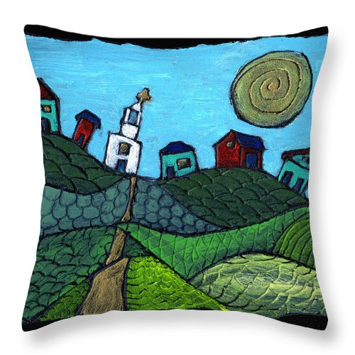 Whimsical Throw Pillow featuring the painting Spring Comes To The Valley by Wayne Potrafka