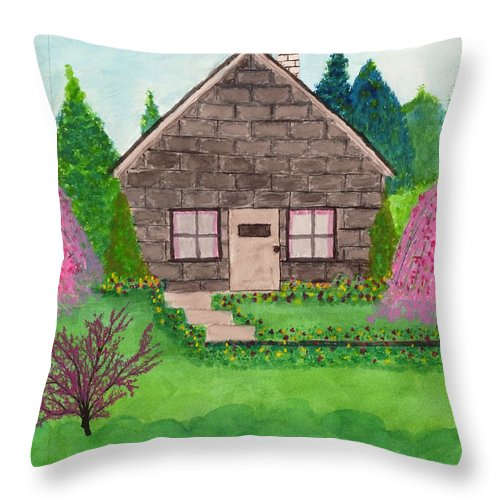 Landscape Throw Pillow featuring the painting Spring Cottage by David Bartsch