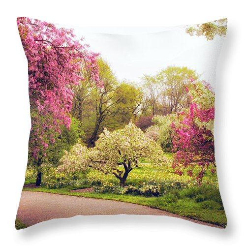 New York Botanical Garden Throw Pillow featuring the photograph Spring Crescendo by Jessica Jenney