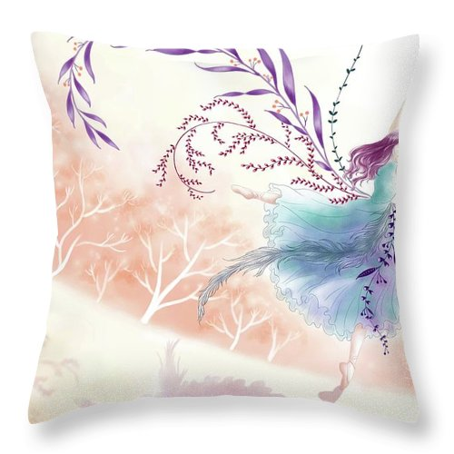 Illustration Throw Pillow featuring the drawing Spring Dance by Elin Lynn