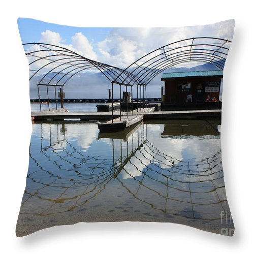 Spring Throw Pillow featuring the photograph Spring Docks On Priest Lake by Carol Groenen