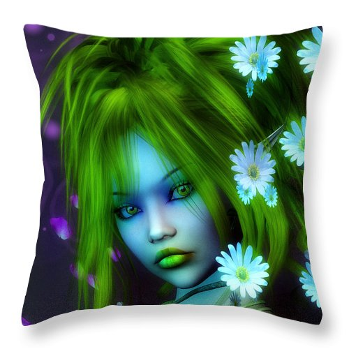 3d Throw Pillow featuring the digital art Spring Elf by Jutta Maria Pusl