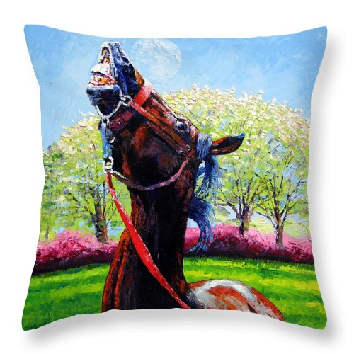 Horse Throw Pillow featuring the painting Spring Fever by John Lautermilch