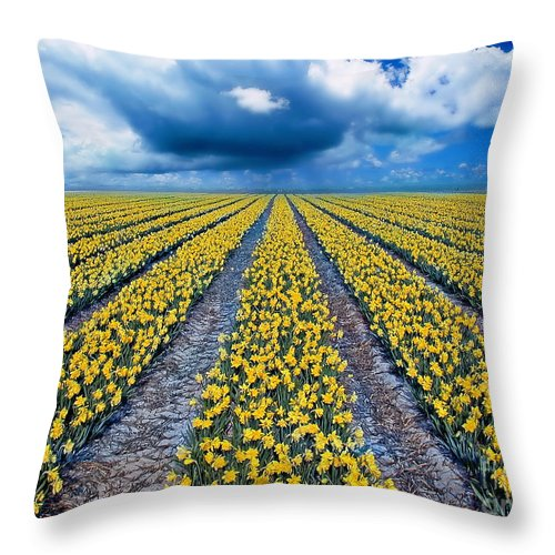 Flowers Throw Pillow featuring the photograph Spring Fields by Jacky Gerritsen