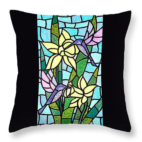 Flowers Throw Pillow featuring the painting Spring Fling by Jim Harris