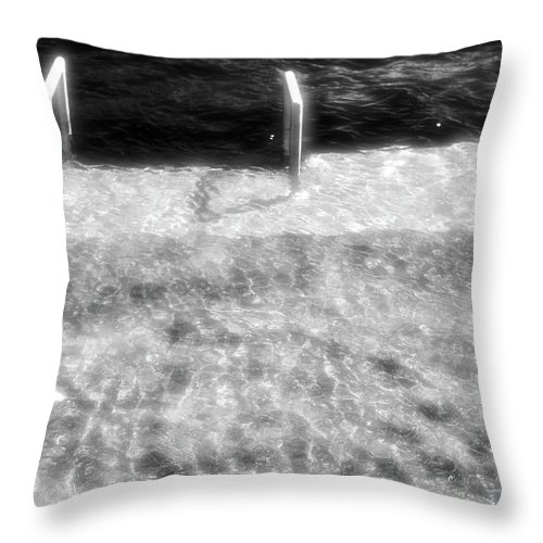 Abstract Throw Pillow featuring the photograph Spring Flood Bw by Lyle Crump