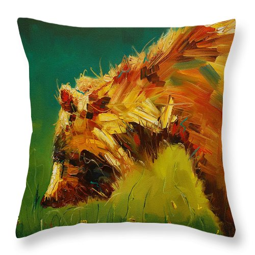 Bear Throw Pillow featuring the painting Spring Flower Bear by Diane Whitehead