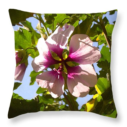 Flower Throw Pillow featuring the painting Spring Flower Peeking Out by Amy Vangsgard