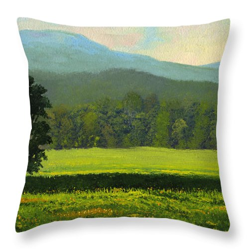 Landscape Throw Pillow featuring the painting Spring Flowers by Frank Wilson