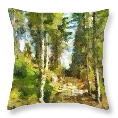 Spring Throw Pillow featuring the painting Spring Forest by Dragica Micki Fortuna