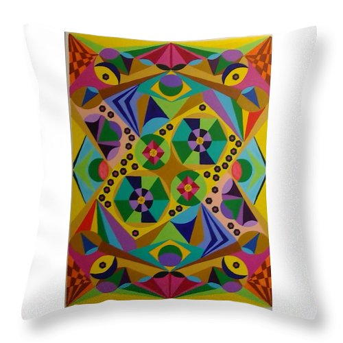 Geometric Abstract Throw Pillow featuring the painting Spring Garden by Dennis Rugtvedt