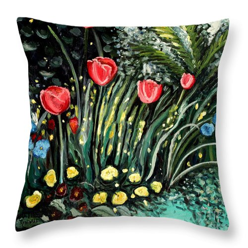 Impressionistic Throw Pillow featuring the painting Spring Garden by Elizabeth Robinette Tyndall