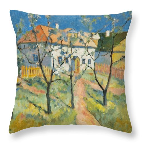 Malevich Throw Pillow featuring the painting Spring Garden In Bloom My Reproduction Of Malevichs Work by Ekaterina Mortensen