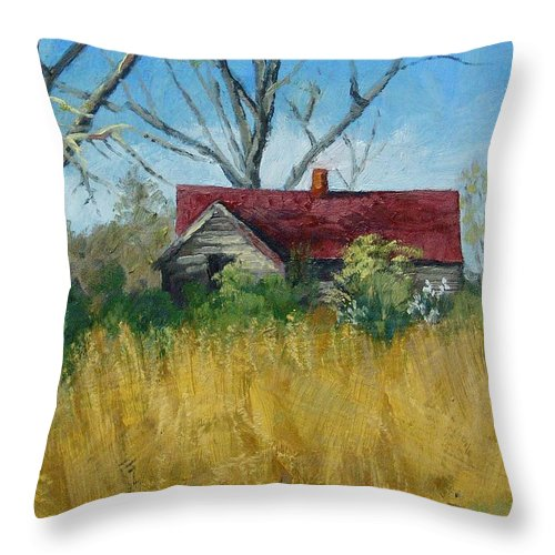 Landscape Throw Pillow featuring the painting Spring Hay by Peter Muzyka