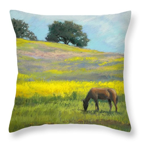 Horse Throw Pillow featuring the painting Spring Hill Grazing by Maralyn Miller