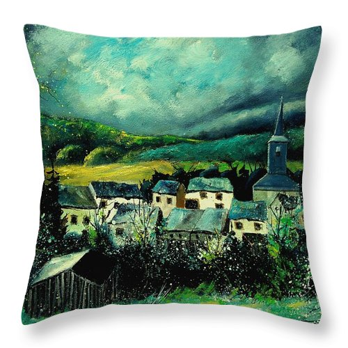 Tree Throw Pillow featuring the painting Spring In Daverdisse by Pol Ledent