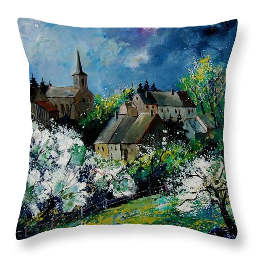 Spring Throw Pillow featuring the painting Spring In Fays Famenne by Pol Ledent