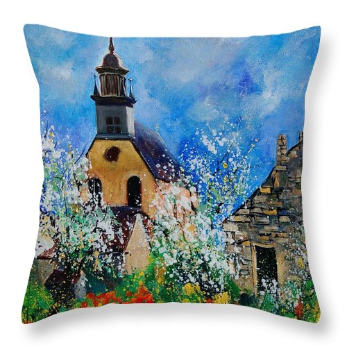 Spring Throw Pillow featuring the painting Spring In Foy Notre Dame Dinant by Pol Ledent