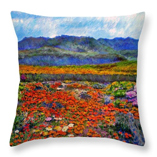Spring Throw Pillow featuring the painting Spring In Namaqualand by Michael Durst