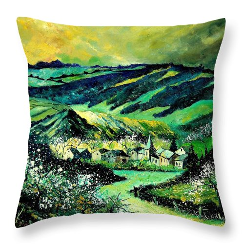 Landscape Throw Pillow featuring the painting Spring In Tha Ardennes by Pol Ledent