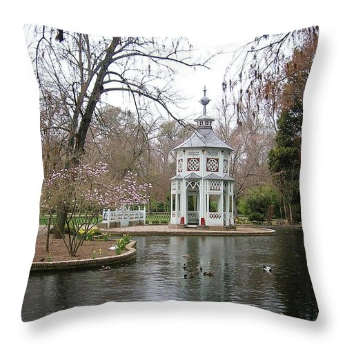Landscape Throw Pillow featuring the photograph Spring In The Aranjuez Gardens Spain by Valerie Ornstein
