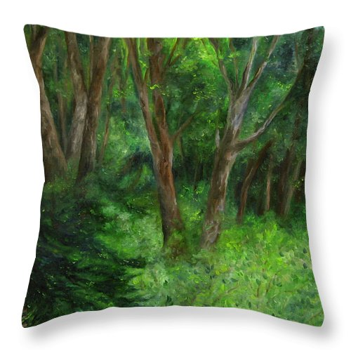 Forest Throw Pillow featuring the painting Spring In The Forest by FT McKinstry