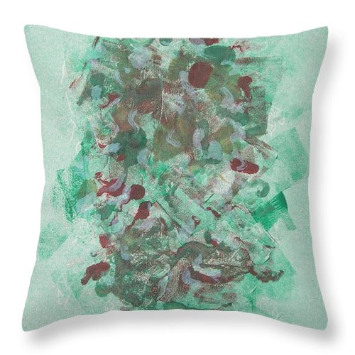 Monoprint Throw Pillow featuring the mixed media Spring Interlude by Cori Solomon