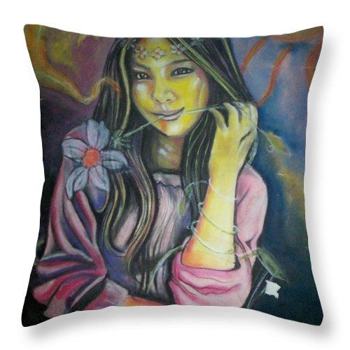 Pastels Throw Pillow featuring the pastel Spring Is In The Air by Americo Salazar