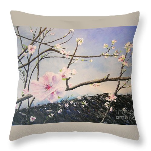 Flower Throw Pillow featuring the painting Spring Is In The Air by Lizzy Forrester