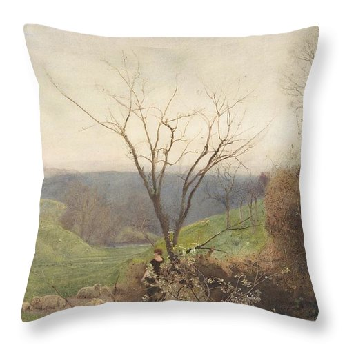 John William North Throw Pillow featuring the drawing Spring by John William North