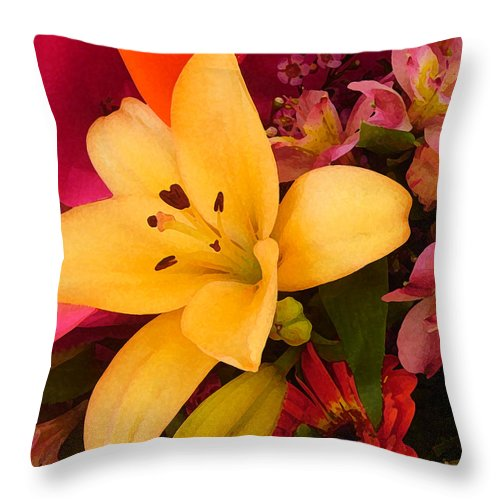 Lily Throw Pillow featuring the painting Spring Lily Bouquet by Amy Vangsgard