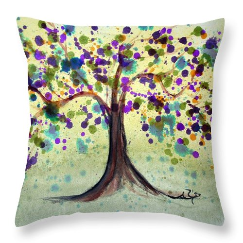 Spring Throw Pillow featuring the painting Colorful Tree by Alma Yamazaki