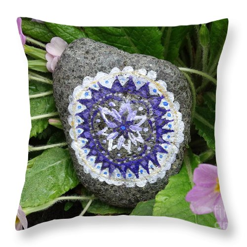 Spring Throw Pillow featuring the pyrography Spring Mandala by Vania