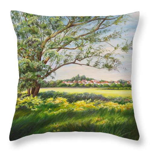 Landscape Throw Pillow featuring the painting Spring by Maya Bukhina