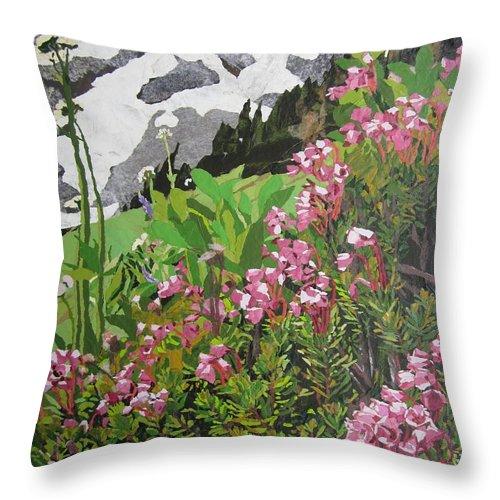 Floral Throw Pillow featuring the painting Spring On Mount Rainier by Leah Tomaino