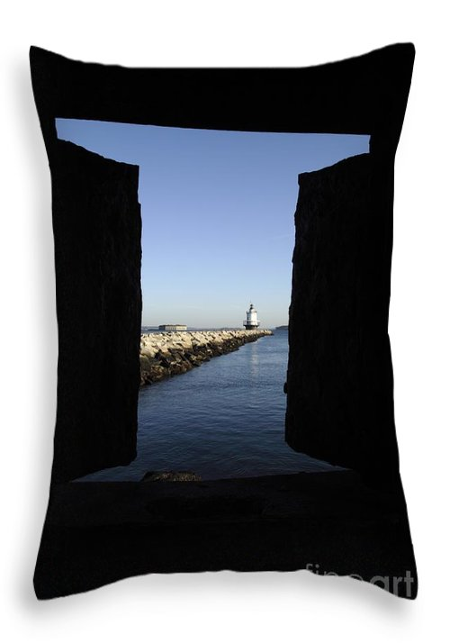 Maine Throw Pillow featuring the photograph Spring Point Ledge Light - Portland Mane Usa by Erin Paul Donovan