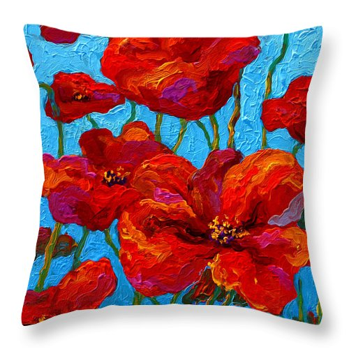 Poppies Throw Pillow featuring the painting Spring Poppies by Marion Rose