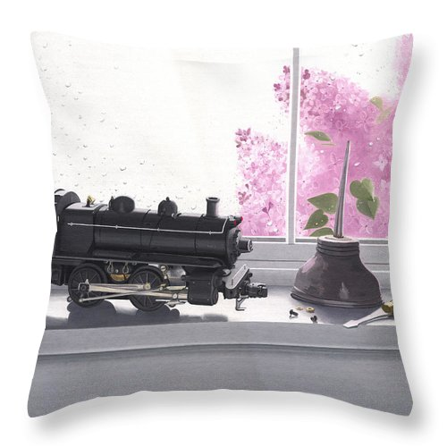 Lionel Throw Pillow featuring the painting Spring Rain Electric Train by Gary Giacomelli