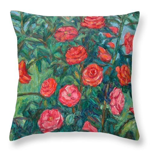 Rose Throw Pillow featuring the painting Spring Roses by Kendall Kessler