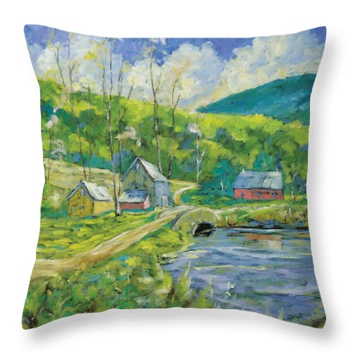 Landscape Throw Pillow featuring the painting Spring Scene by Richard T Pranke