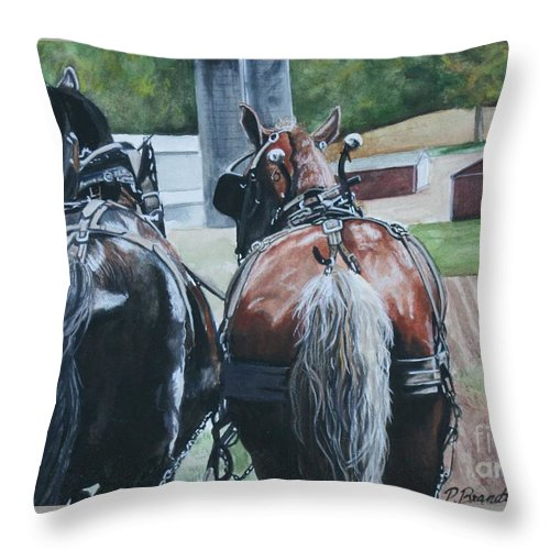 Spring Plowing Throw Pillow featuring the painting Spring Soil by Patricia Brandt