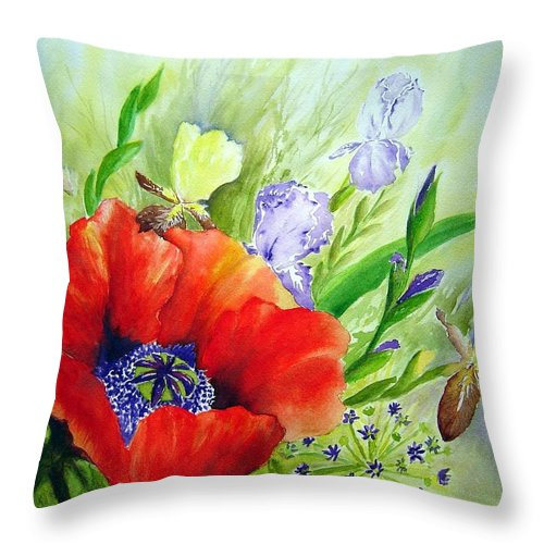 Poppy Iris Floral Painting Throw Pillow featuring the painting Spring Splendor by Joanne Smoley