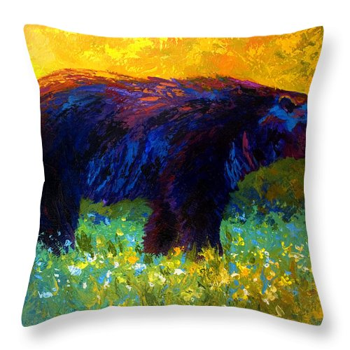 Bear Throw Pillow featuring the painting Spring Stroll - Black Bear by Marion Rose