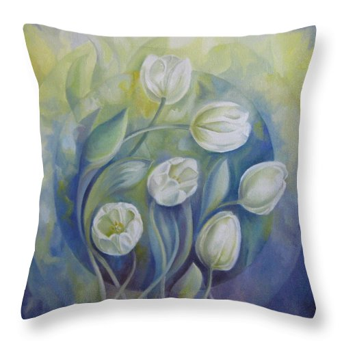 Flowers Throw Pillow featuring the painting Spring Symphony by Elena Oleniuc