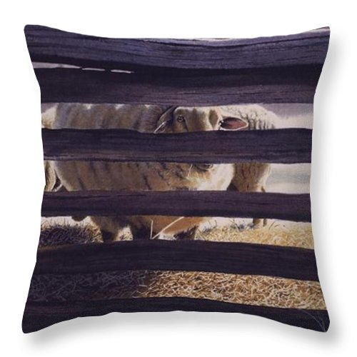 Sheep Throw Pillow featuring the painting Spring Thaw by Denny Bond